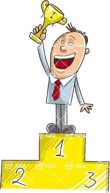 Business vector characters illustrated in the popular outline design trend - a rich collection from GraphicMama - Businessman Holding a Trophy