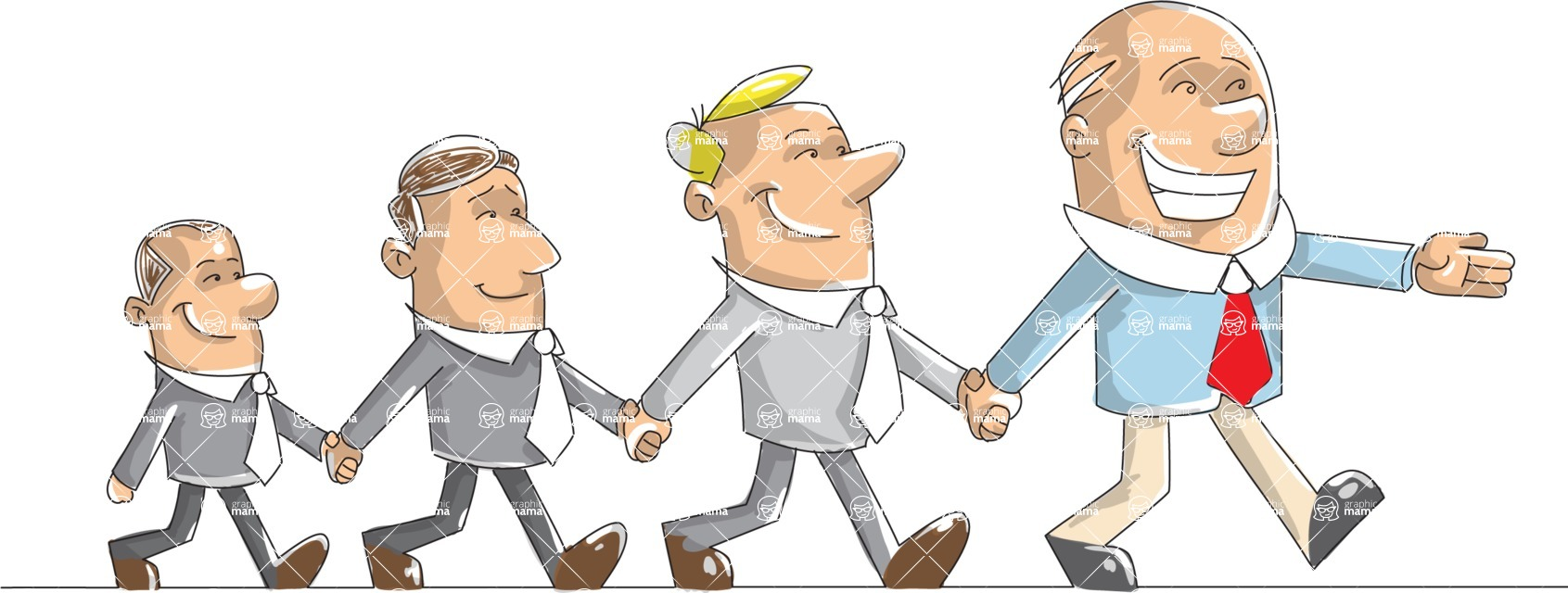 Business vector characters illustrated in the popular outline design trend - a rich collection from GraphicMama - Businessman Walking With His Team