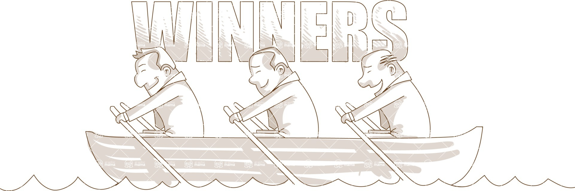 Business vector characters illustrated in the popular outline design trend - a rich collection from GraphicMama - Monochrome Businessmen Winners on Boat
