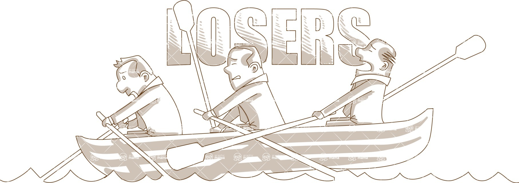 Business vector characters illustrated in the popular outline design trend - a rich collection from GraphicMama - Monochrome Losers Businessmen on Boat