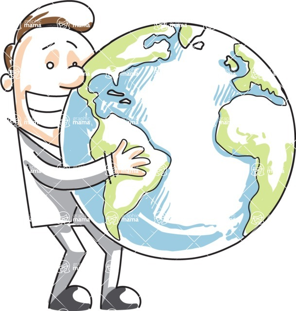 Business vector characters illustrated in the popular outline design trend - a rich collection from GraphicMama - Cartoon Businessman Holding the Globe