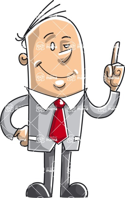 Business vector characters illustrated in the popular outline design trend - a rich collection from GraphicMama - Outline Businessman Pointing Up Full Color