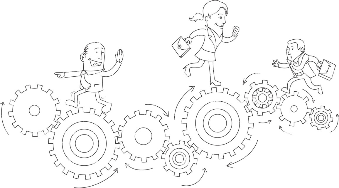 Business vector characters illustrated in the popular outline design trend - a rich collection from GraphicMama - Business People Running on Cogwheels