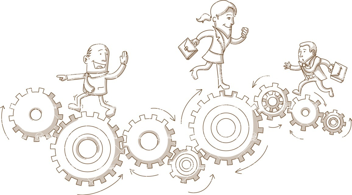 Business vector characters illustrated in the popular outline design trend - a rich collection from GraphicMama - Business People Running Over Gear Wheels