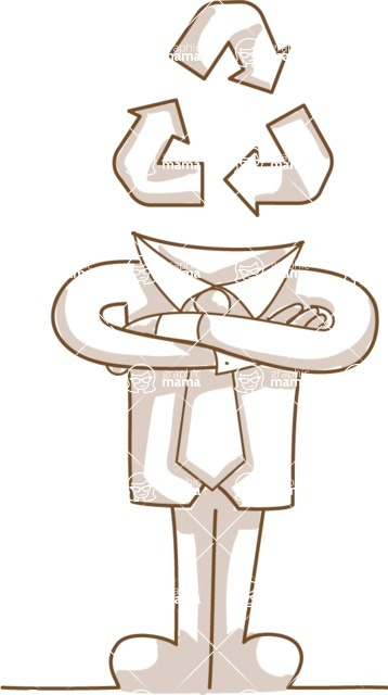 Business vector characters illustrated in the popular outline design trend - a rich collection from GraphicMama - Monochrome Businessman with Recycle Symbol