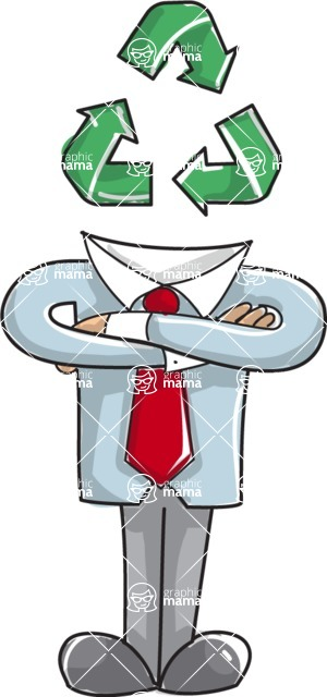 Business vector characters illustrated in the popular outline design trend - a rich collection from GraphicMama - Businessman with Recycle Symbol Illustration