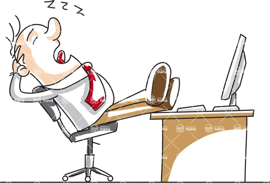 Business vector characters illustrated in the popular outline design trend - a rich collection from GraphicMama - Businessman Sleeping with Legs on Desk