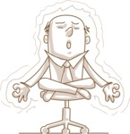 Business vector characters illustrated in the popular outline design trend - a rich collection from GraphicMama - Monochrome Businessman Doing Yoga