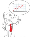 Outline Businessman Explaining a Graph Chart