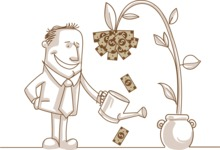 Business vector characters illustrated in the popular outline design trend - a rich collection from GraphicMama - Businessman Watering a Money Plant Monochrome