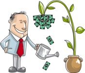 Business vector characters illustrated in the popular outline design trend - a rich collection from GraphicMama - Businessman Watering a Money Plant Illustration