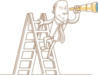 Business vector characters illustrated in the popular outline design trend - a rich collection from GraphicMama - Monochrome Businessman With Telescope