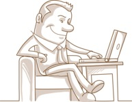 Business vector characters illustrated in the popular outline design trend - a rich collection from GraphicMama - Monochrome Businessman with Laptop