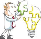 Cartoon Businessman Building Puzzle