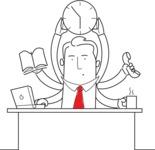 Outline Businessman Multitasking