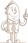 Business vector characters illustrated in the popular outline design trend - a rich collection from GraphicMama - Monochrome Businessman Pointing Up