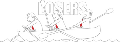 Business vector characters illustrated in the popular outline design trend - a rich collection from GraphicMama - Losers Businessmen Sailing on Boat