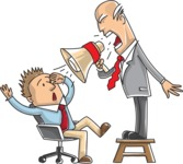 Business vector characters illustrated in the popular outline design trend - a rich collection from GraphicMama - Boss Shouting at Employee at Work