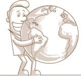 Businessman Holding Globe Monochrome