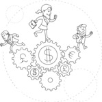 Business vector characters illustrated in the popular outline design trend - a rich collection from GraphicMama - Business People Running on Money