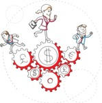 Business vector characters illustrated in the popular outline design trend - a rich collection from GraphicMama - Business People Running on Money Cogwheels