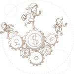 Business vector characters illustrated in the popular outline design trend - a rich collection from GraphicMama - Monochrome Business People Running on Money