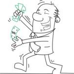 Outline Businessman Holding Money