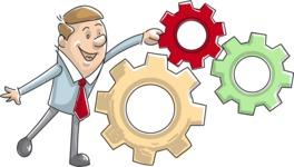 Cartoon Businessman with Gear Wheels