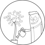 Outline Man Watering Money Tree