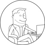 Outline Businessman with a Laptop