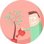 Man Watering Money Tree Flat Illustration