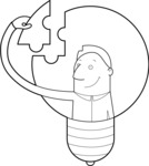Man in a Light Bulb Outline