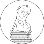 Fat Businessman Outline Illustration