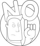 Man Saying No Outline Illustration