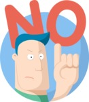 Flat Cartoon Man Saying No