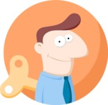 Wind-up Businessman Flat Illustration