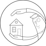 Outline Man Holding a House