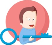 Man with Key Flat Illustration