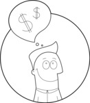 Outline Man Thinking About Money