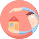 Man Holding Real Estate Flat Illustration