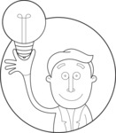 Outline Man with a Light Bulb