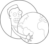 Man Holding Globe Outline