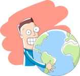 Cartoon Man With the Globe