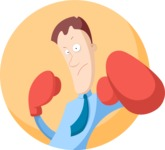 Businessman Boxer Flat Illustration