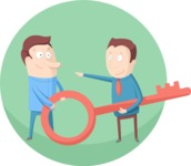 Men With a Key Flat Illustration