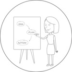 Outline Woman Presenting a Plan