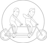 Businessmen Riding a Bike Outline