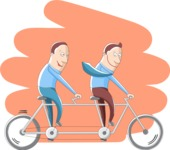 Businessmen on a Tandem Bike