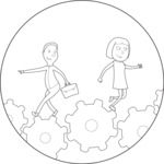 Outline Man and Woman Walking on Gear