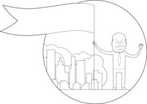 Outline Businessman with a Flag